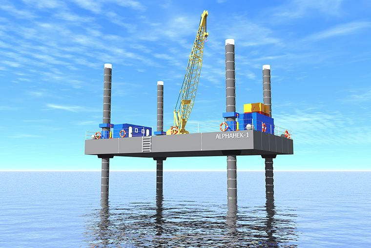 offshore exploratory drilling - jack-up pontoon
