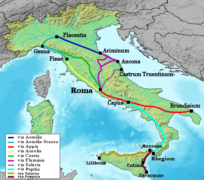 rimske ceste - karta