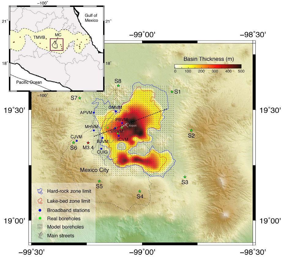 topografski prikaz potresa u Mexico City