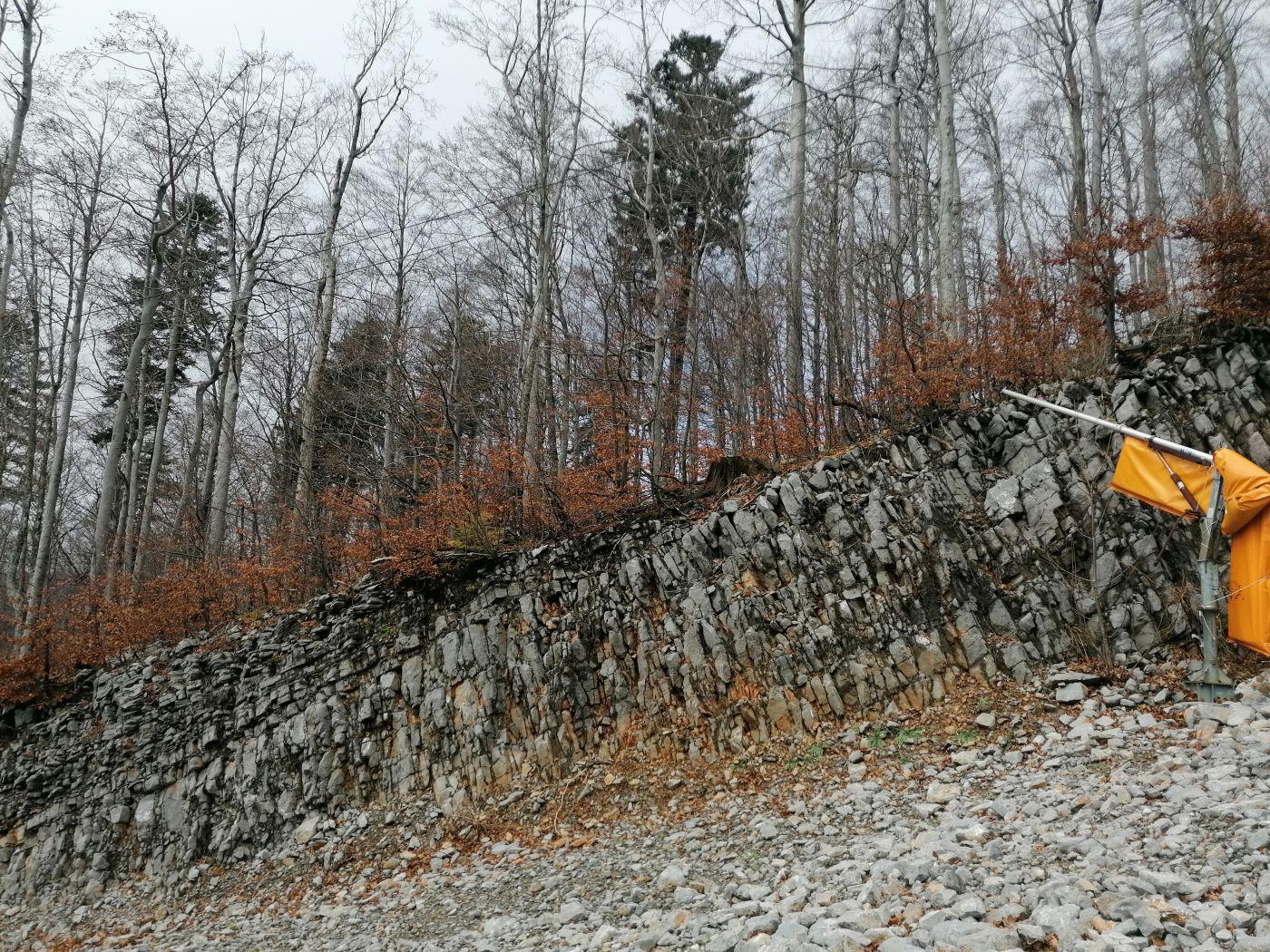 žičara radeševo - prikaz stijenske mase u sklopu zasjeka